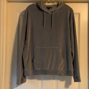 Topshop Velour Sweatshirt - Dusty Blue